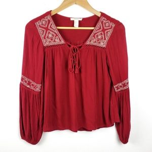Forever 21 | Dark Red Boho Tie Front Blouse Small